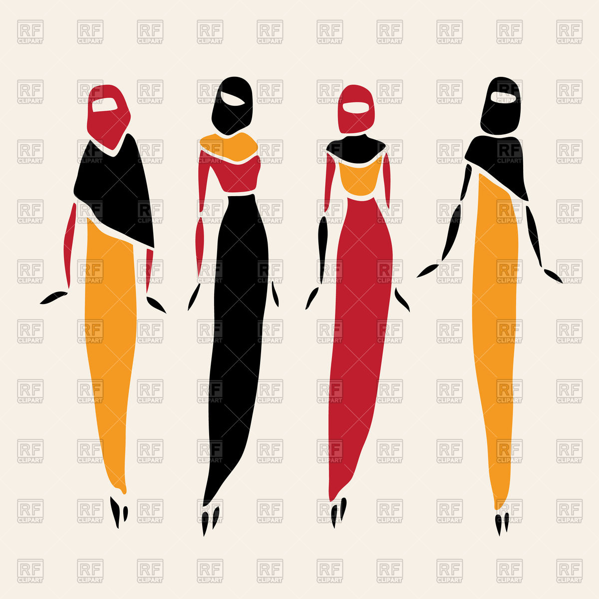 1200x1200 Stylized East Women In Veiledlustration Royalty Free Vector Clip