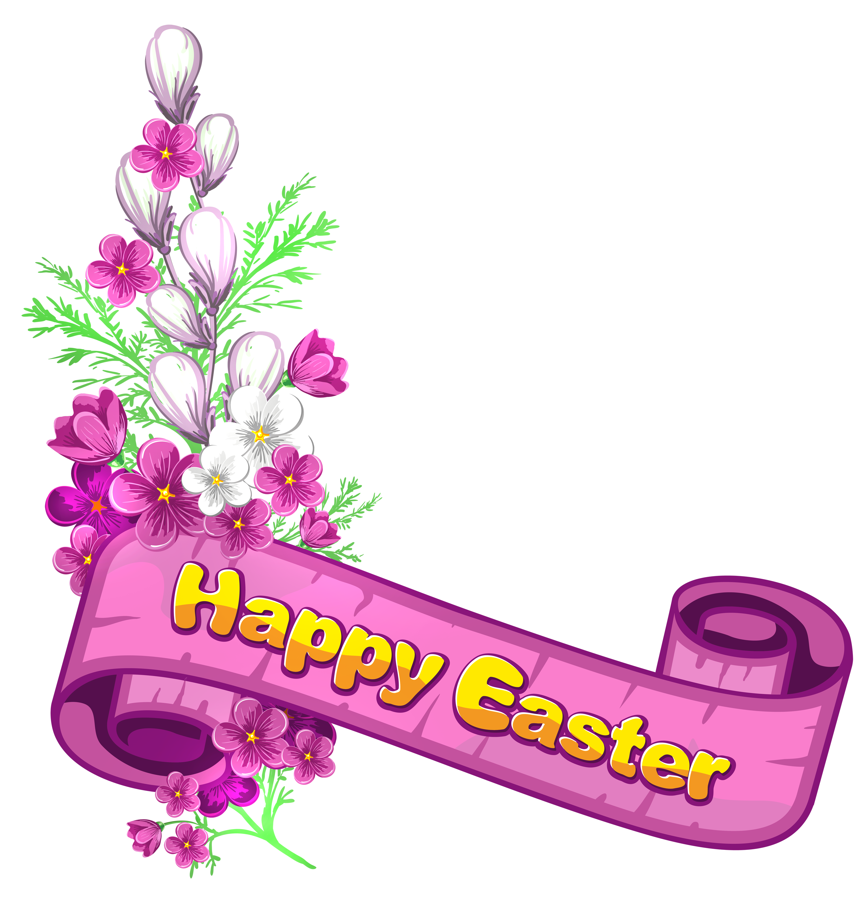 3000x3103 Pink Happy Easter Banner And Flowersu200b Gallery Yopriceville