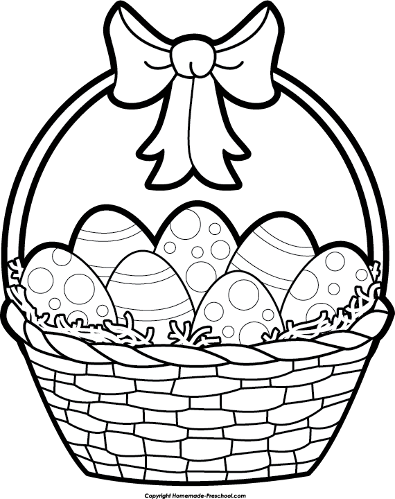 570x720 Easter Basket Clipart Black And White Happy Easter