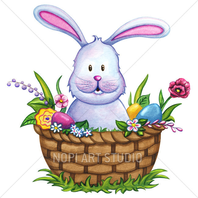 650x650 Easter Bunny Clip Art, Easter Basket With Colorful Eggs