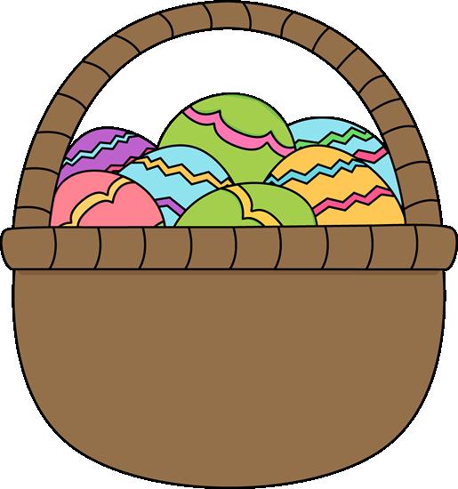 515x550 Brown Basket Of Easter Eggs Clip Art