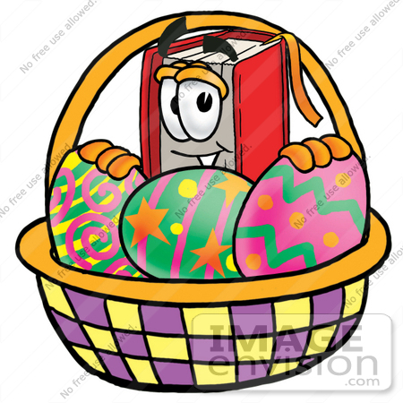 450x450 Clip Art Graphic Of A Book Cartoon Character In An Easter Basket