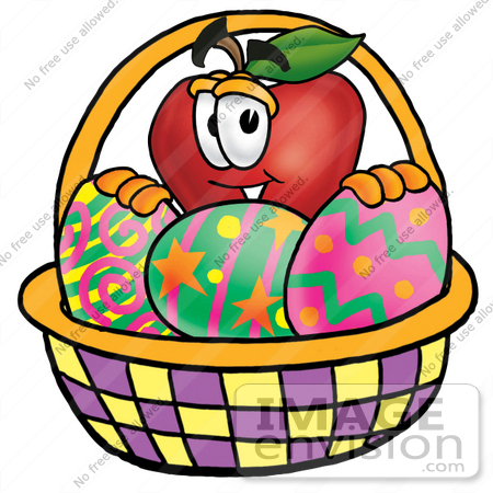 450x450 Clip Art Graphic Of A Red Apple Cartoon Character In An Easter