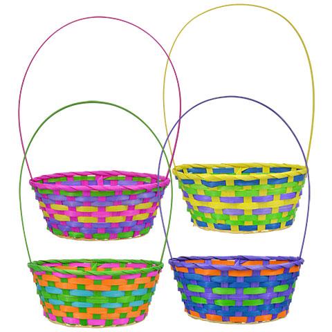 480x480 Bulk Pastel Woven Bamboo Easter Baskets