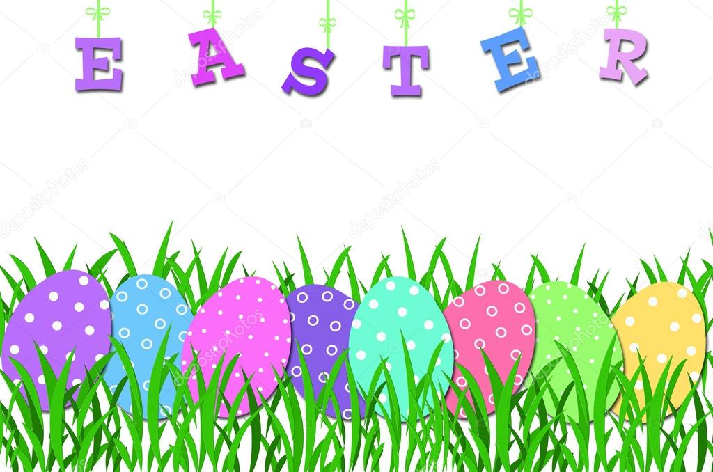 1024x678 Easter Border With Colorful Eggs In The Grass Stock Photo