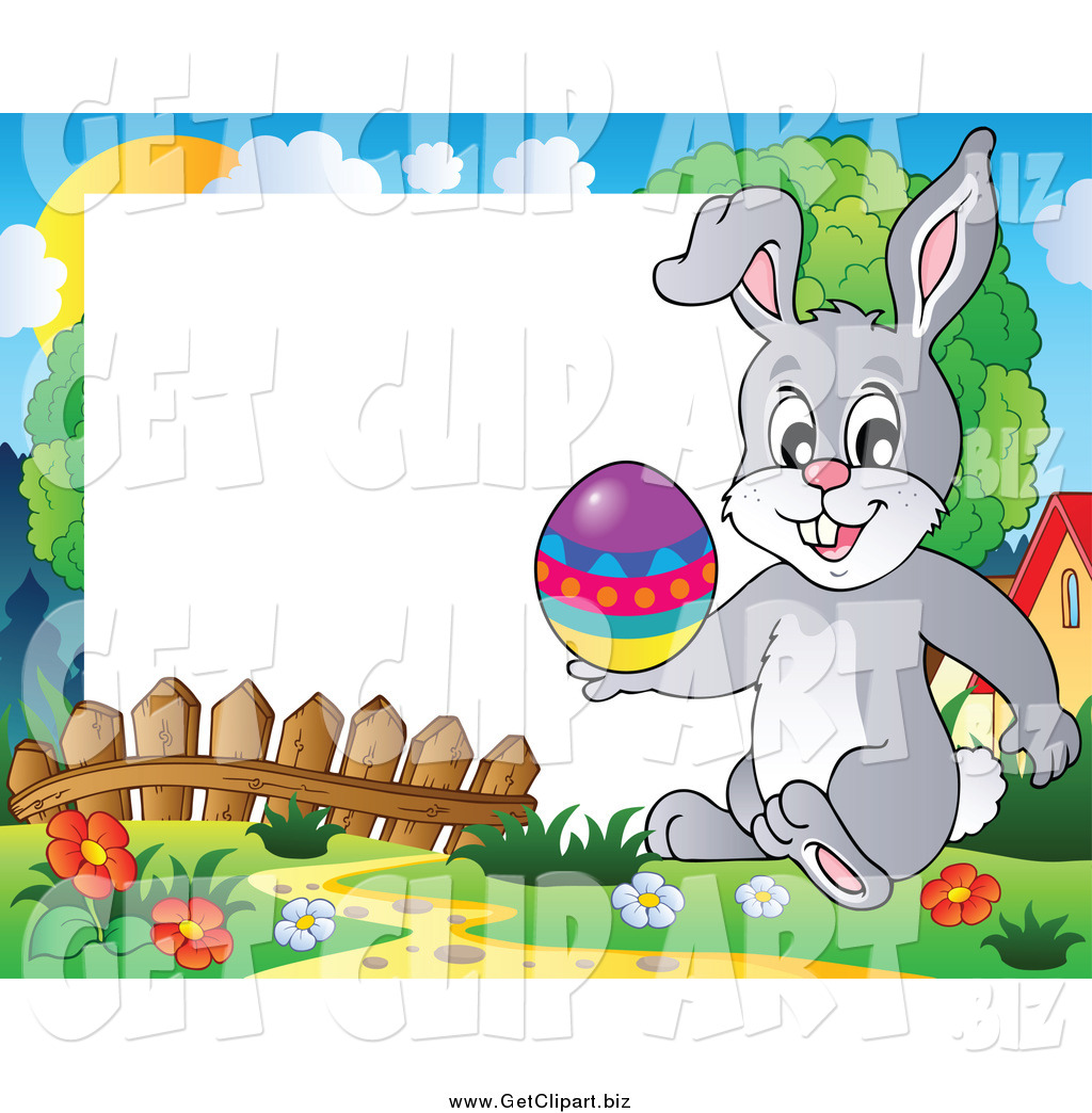1024x1044 Clip Art Of A Happy Easter Rabbit Holding An Easter Egg On A Frame