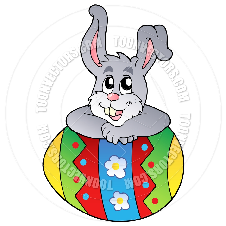 940x940 Cartoon Easter Bunny Leaning On Easter Egg By Clairev Toon