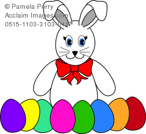 300x274 Clip Art Image Of A Cartoonish Easter Bunny With Easter Eggs