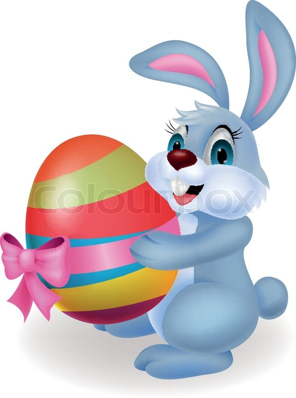 595x800 Cute Rabbit Cartoon Holding Easter Egg Stock Vector Colourbox