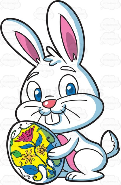 420x640 A Cute Looking Easter Bunny With An Egg Cartoon Clipart