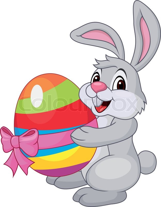 624x800 Vector Illustration Of Cute Rabbit Cartoon Holding Easter Egg