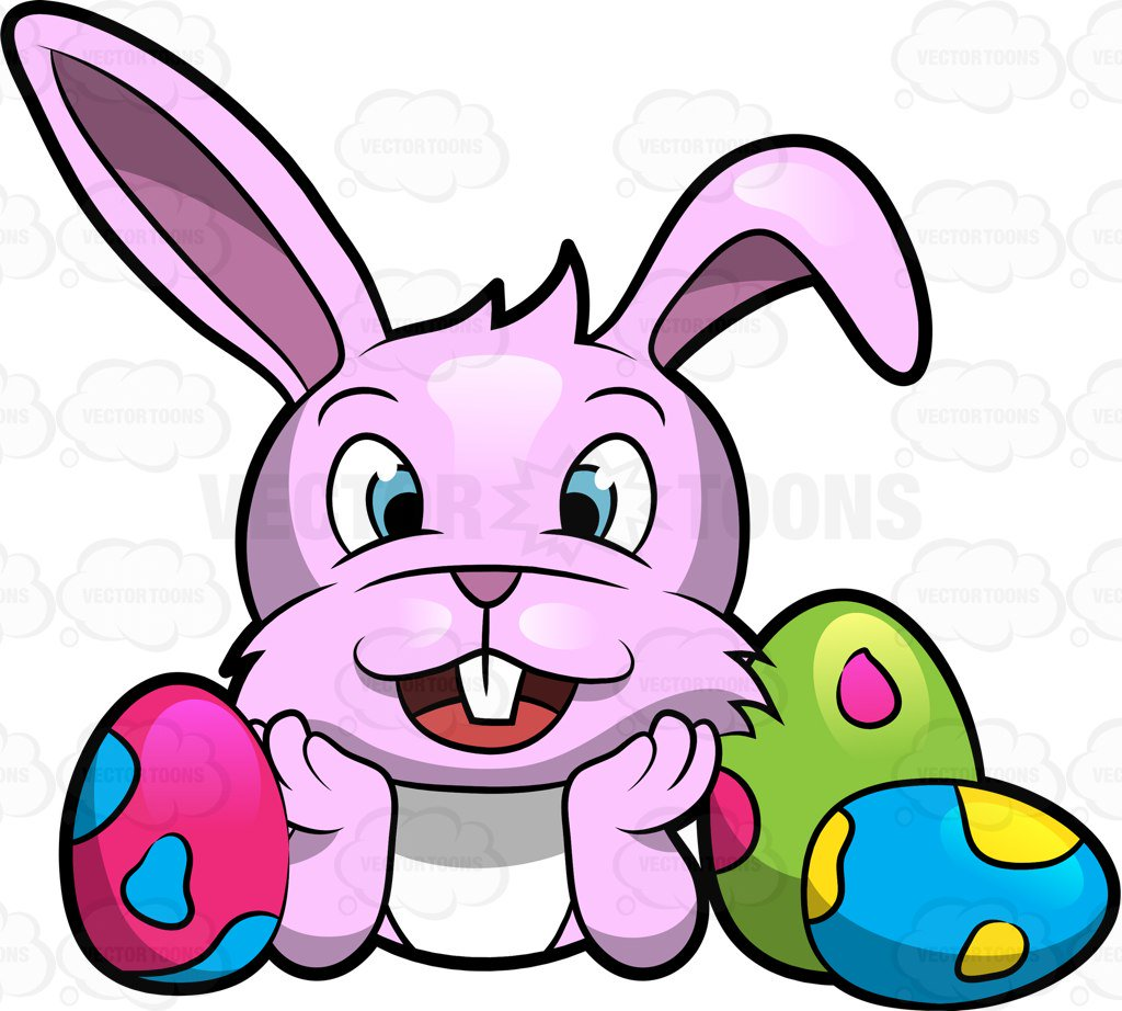 1024x922 A Happy Cute Easter Bunny Surrounded With Lovely Eggs Cartoon