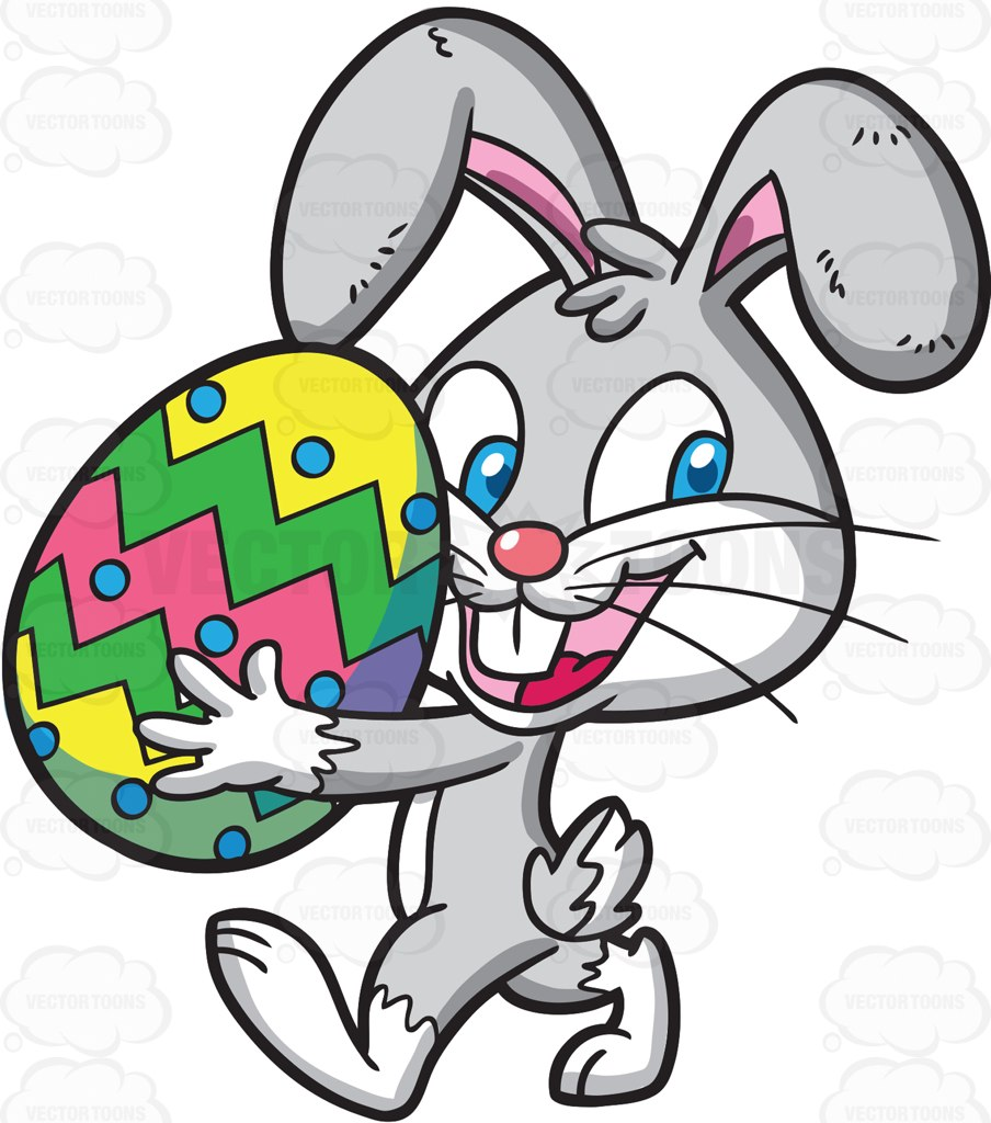 904x1024 An Easter Bunny Carrying A Colorful Egg Cartoon Clipart