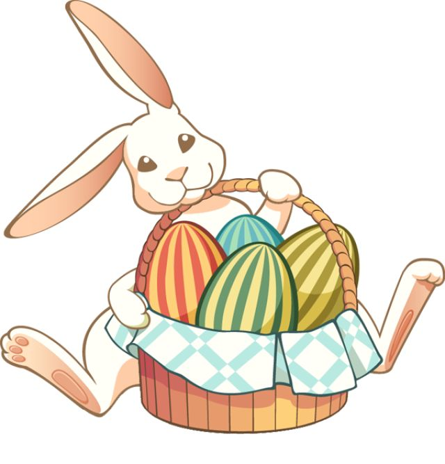 Easter Bunny With Eggs Clipart