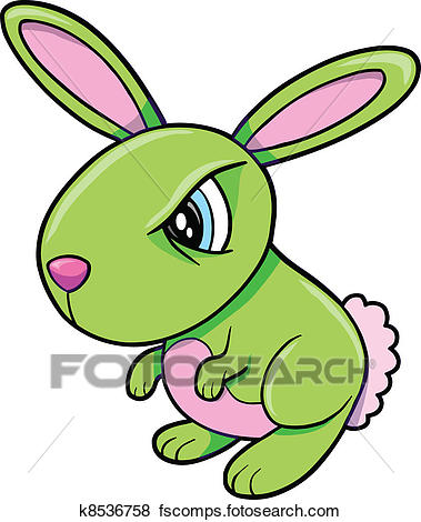 379x470 Clip Art Of Toxic Angry Green Bunny Rabbit K8536758