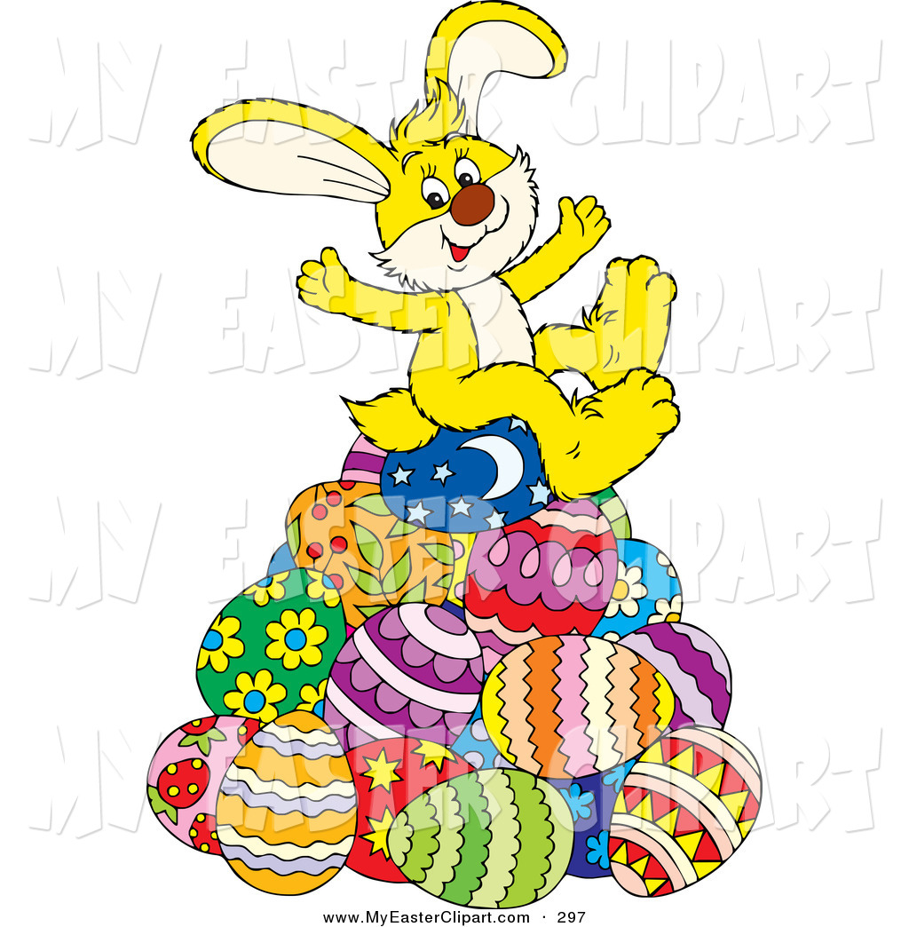 1024x1044 Clip Art of a Cute and Happy Yellow Easter Bunny Sitting on Top of