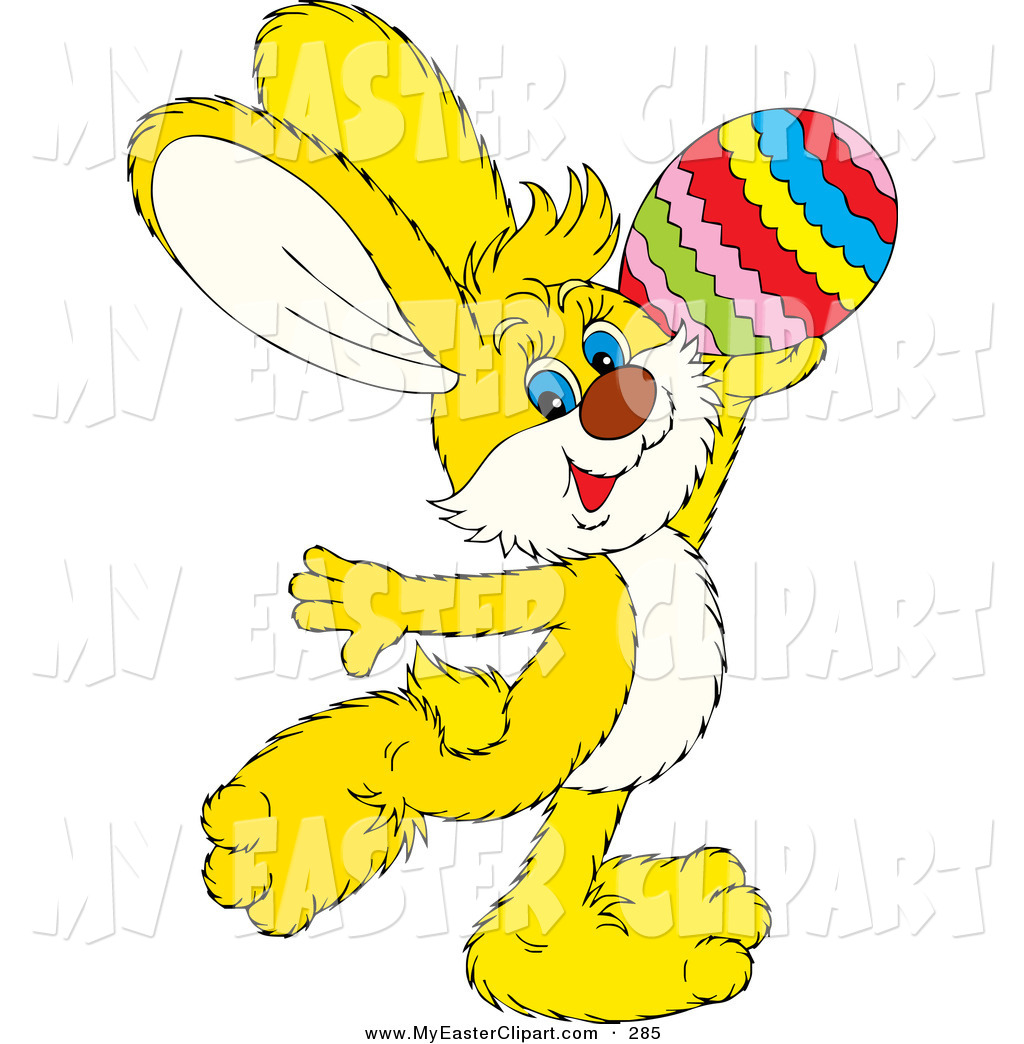 1024x1044 Clip Art of a Yellow Easter Bunny Rabbit Prancing and Holding up a