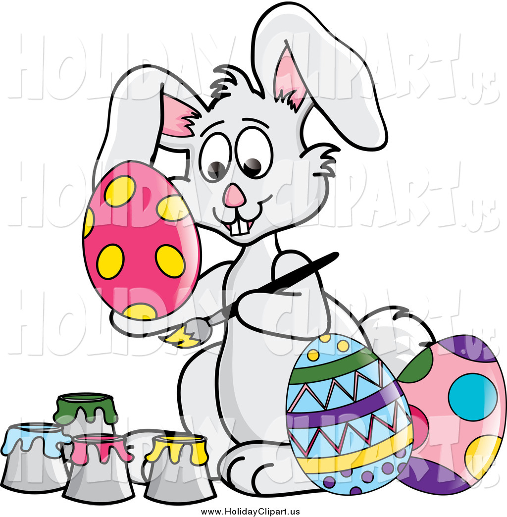 1024x1044 Holiday Clip Art Of A Gray Easter Bunny Rabbit Painting Eggs By