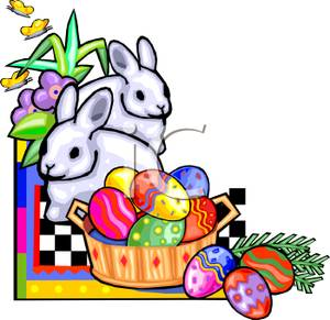 300x291 Art Image Two White Easter Bunnies and a Basket of Easter Eggs