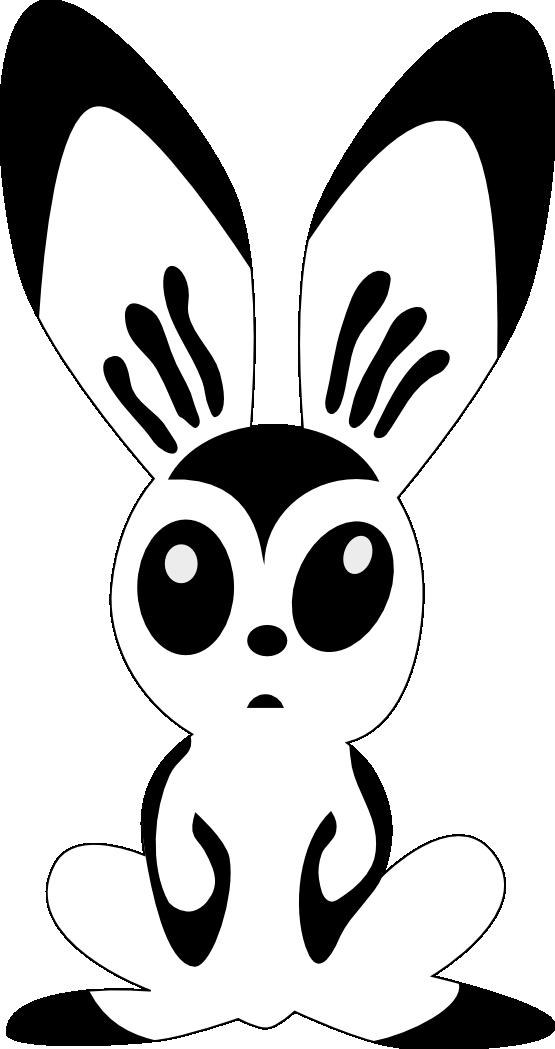 555x1049 Clip Art Hare By Rones Rabbit Black White Line