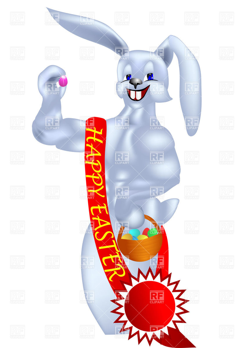 847x1200 Easter Bunny With Winner Ribbon Royalty Free Vector Clip Art Image