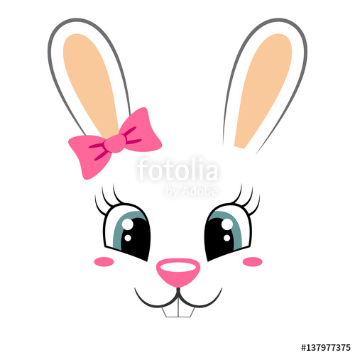 500x500 Cute Bunny With Pink Bow. Girlish Print With Rabbit Face For T