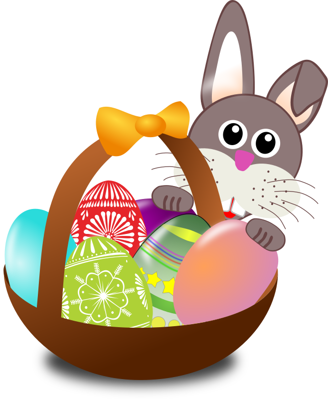 658x800 Easter Bunny And Basket Clipart