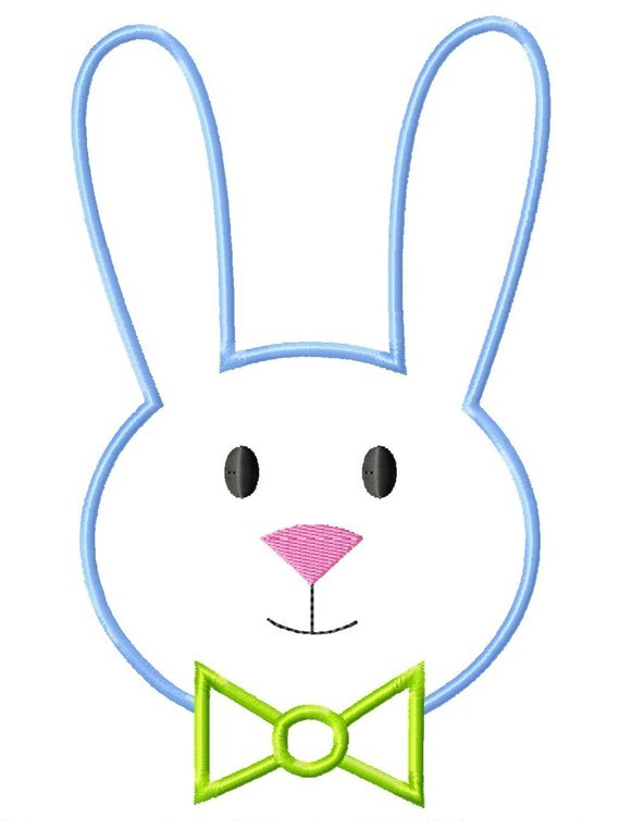 570x762 Easter Rabbit Outline Boy Bunny Face Machine Embroidery Applique