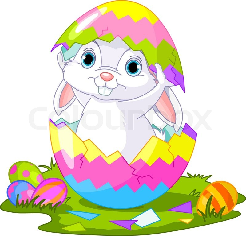 800x769 Easter Bunny Jumping Out Fromegg Stock Vector Colourbox