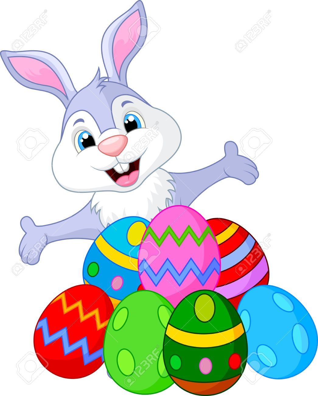 1045x1300 Easter Funny Rabbit With Eggs Royalty Free Cliparts, Vectors,