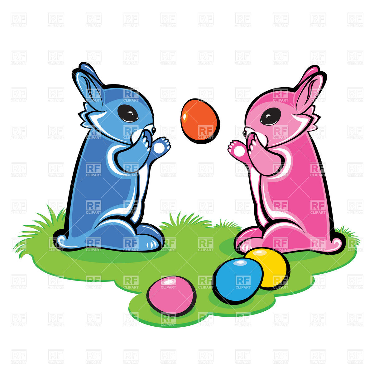 1200x1200 Easter Bunnies Play With Eggs Royalty Free Vector Clip Art Image