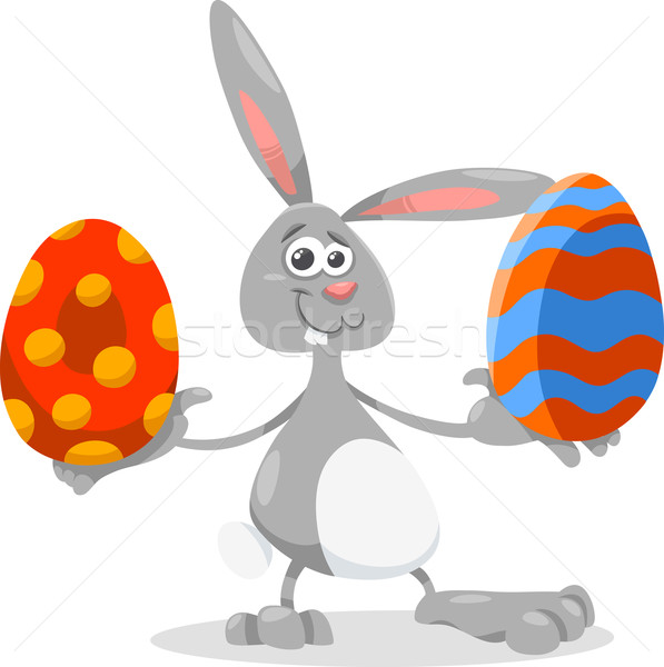 597x600 Bunny And Easter Egg Cartoon Illustration Vector Illustration