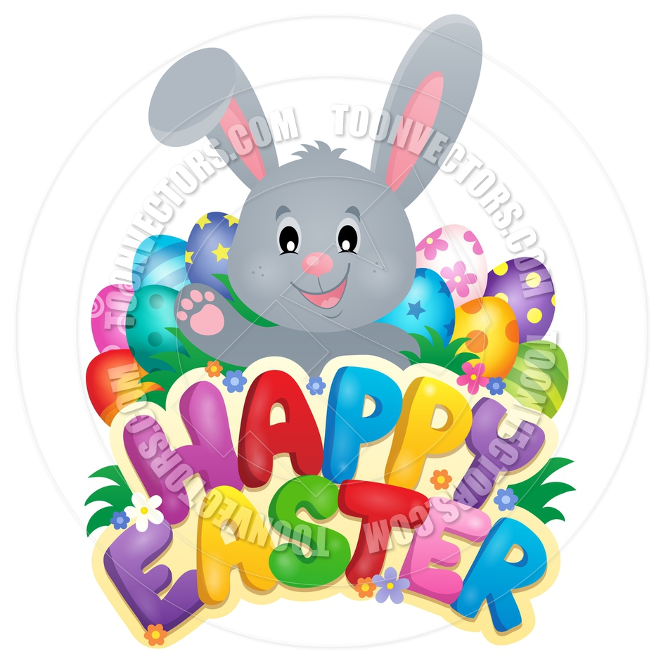 940x940 Cartoon Happy Easter Sign With Bunny And Eggs By Clairev Toon