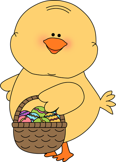 395x550 Chick Carrying Easter Basket Clip Art