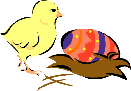 440x307 Free Easter Chick With Egg Clip Art