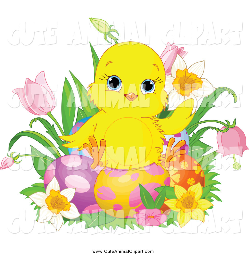1024x1044 Vector Clip Art Of A Cute Easter Chick Sitting On Eggs Surrounded
