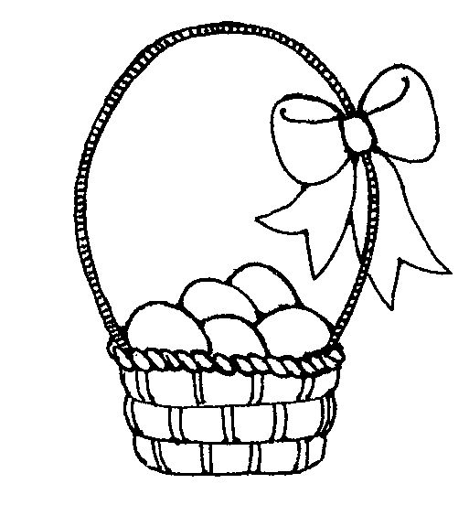 513x552 Clipart Easter Egg Basket Black And White