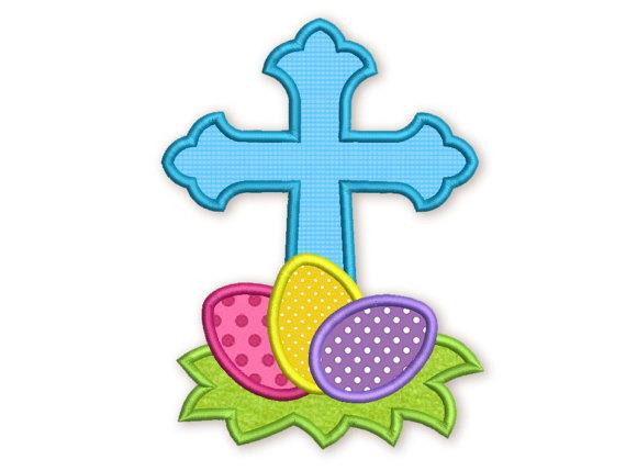 570x429 Cross Easter Eggs Applique Embroidery Design Machine