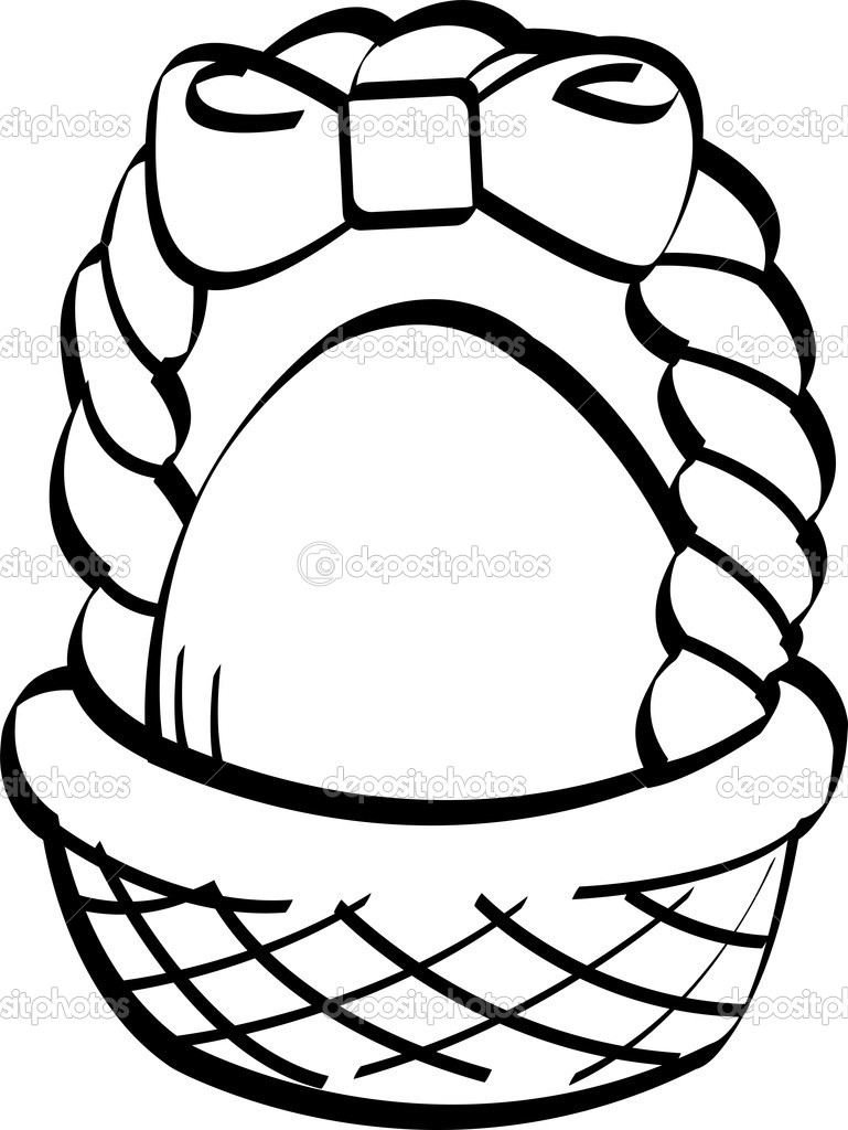 769x1024 Easter Egg Basket Black And White Clipart
