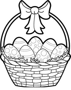 236x297 Easter Egg Basket Clipart Black And White