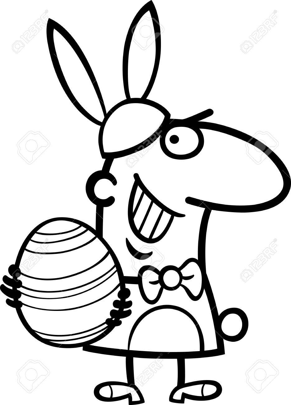 935x1300 Black And White Cartoon Illustration Of Funny Man In Easter Bunny
