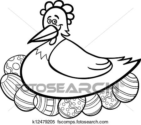 450x399 Clipart Of Hen Hatching Easter Eggs Cartoon For Coloring K12479205
