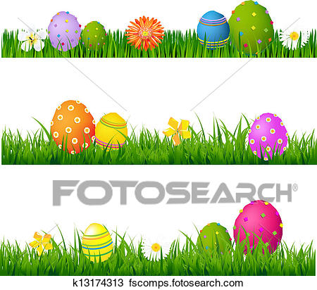 450x412 Clipart Of Big Green Grass Set With Flowers And Easter Eggs