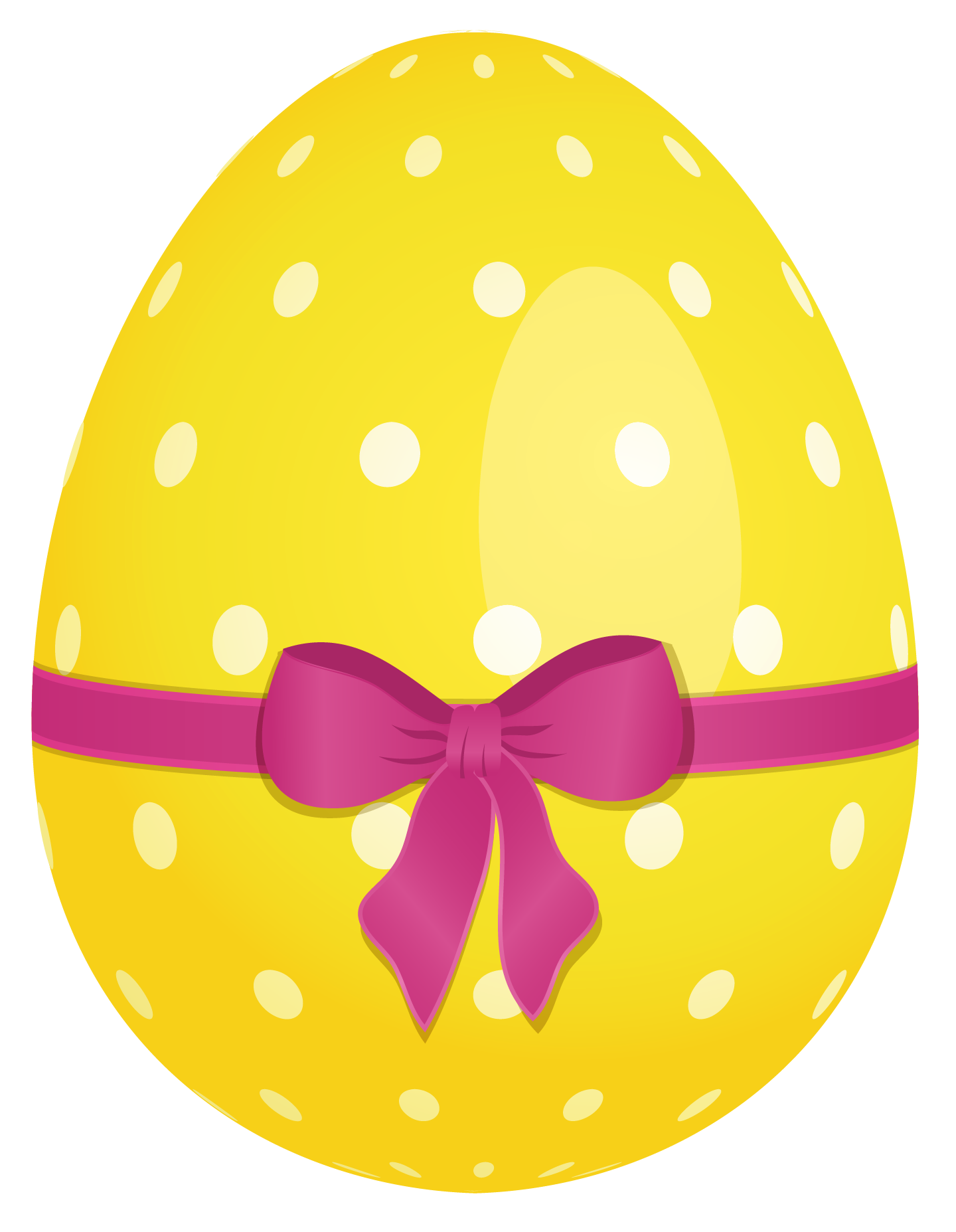 1440x1855 Yellow Dotted Easter Egg With Pink Bow Clipart