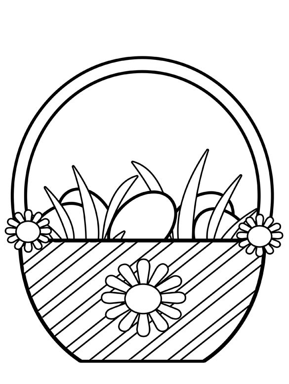 585x776 Easter Basket Clip Art Black And White Happy Easter 2017