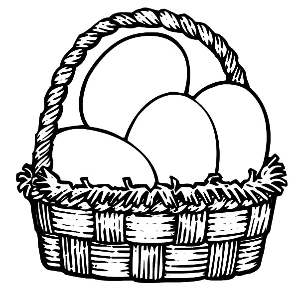 600x600 Easter Egg Basket Black And White Clipart