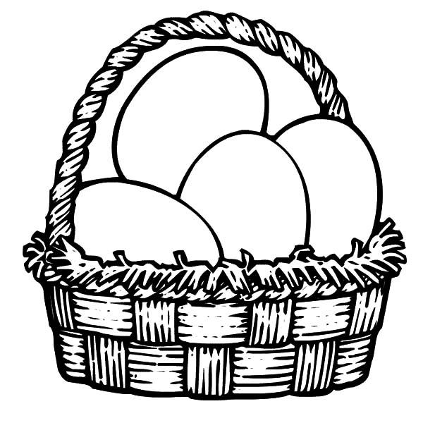 600x600 Easter Egg Basket Black And White Clipart