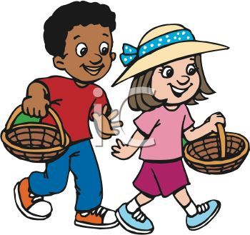 350x329 African American Boy And Caucasian Girl Are Easter Egg Hunting