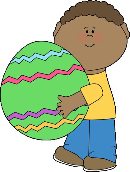 418x550 Boy Holding A Giant Easter Egg Clip Art