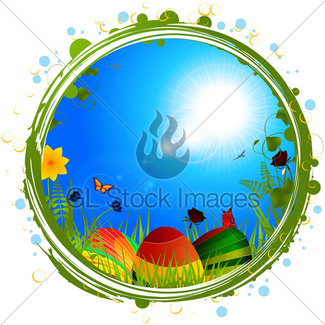 325x325 Easter Eggs On Grass And Blue Sky Background Gl Stock Images